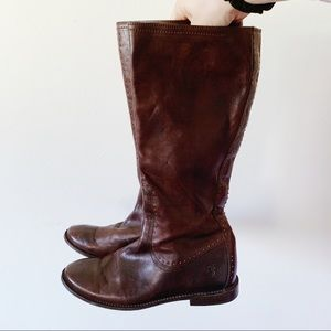 Frye Brown Leather Studded Below the Knee Boots